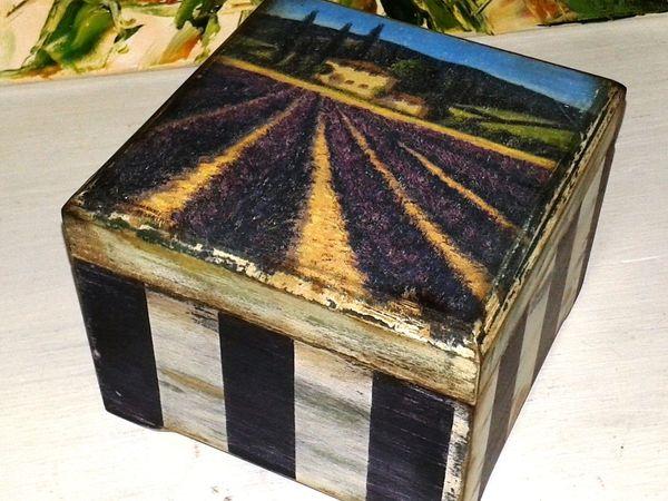 «Милая Вещица». Полосатая шкатулка с многослойным старением   Ярмарка Мастеров - ручная работа, handmade