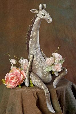 жираф, авторская игрушка, роспись