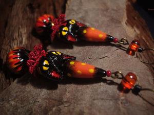 Аукцион с НУЛЯ на серьги с волшебными котиками, 17, 18 декабря. Ярмарка Мастеров - ручная работа, handmade.