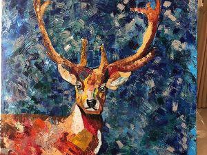 Картина маслом олень. Ярмарка Мастеров - ручная работа, handmade.