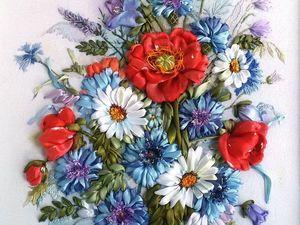 Видеоурок: вышиваем лентами цветы мака. Ярмарка Мастеров - ручная работа, handmade.