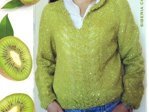 Новая модель Вязаный свитер с пайетками Киви. Ярмарка Мастеров - ручная работа, handmade.