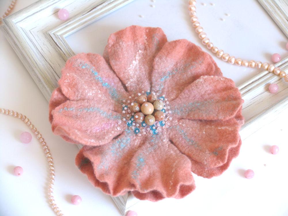 цвет года, коралловый, брошь цветок, брошь из шерсти, оригинальный подарок, что подарить, ручная работа, блог, конкурс конфета, розыгрыш приза