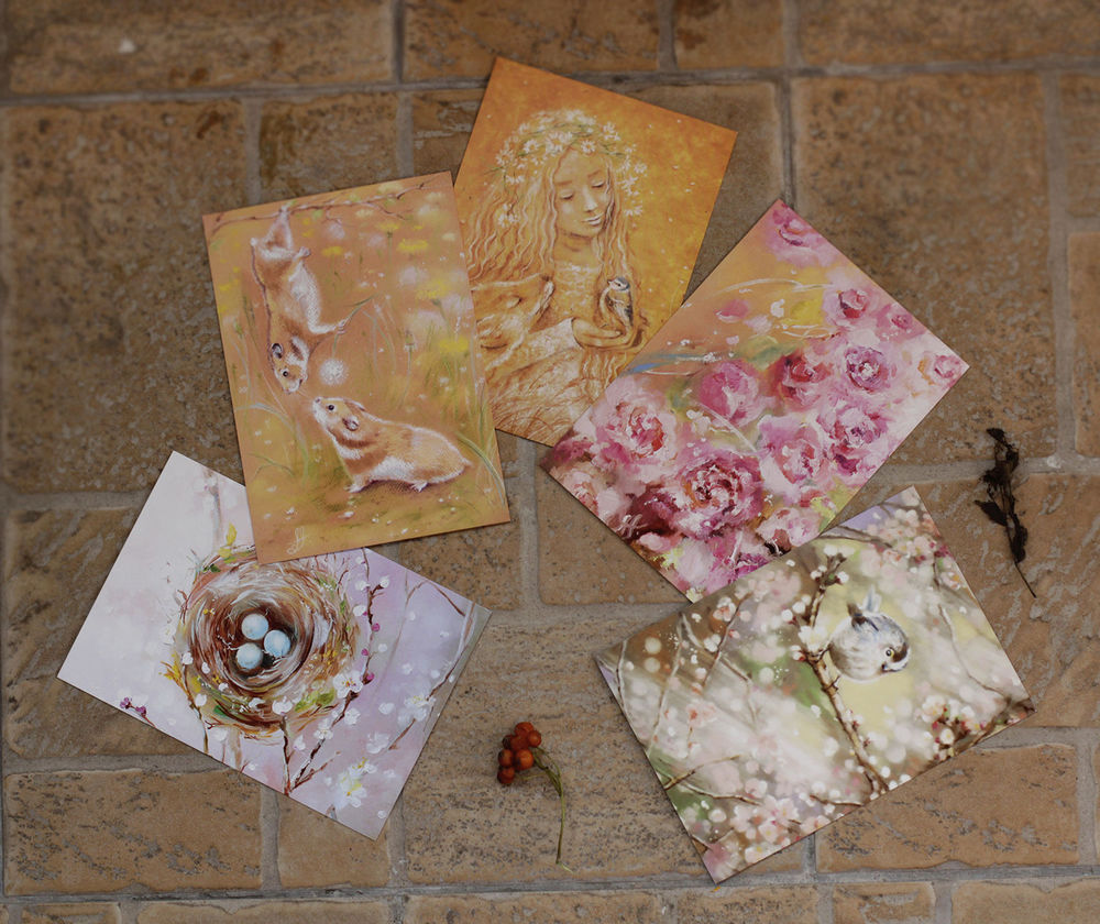 набор открыток, открытки лето
