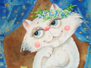 Кошка у окошка. Ярмарка Мастеров - ручная работа, handmade.