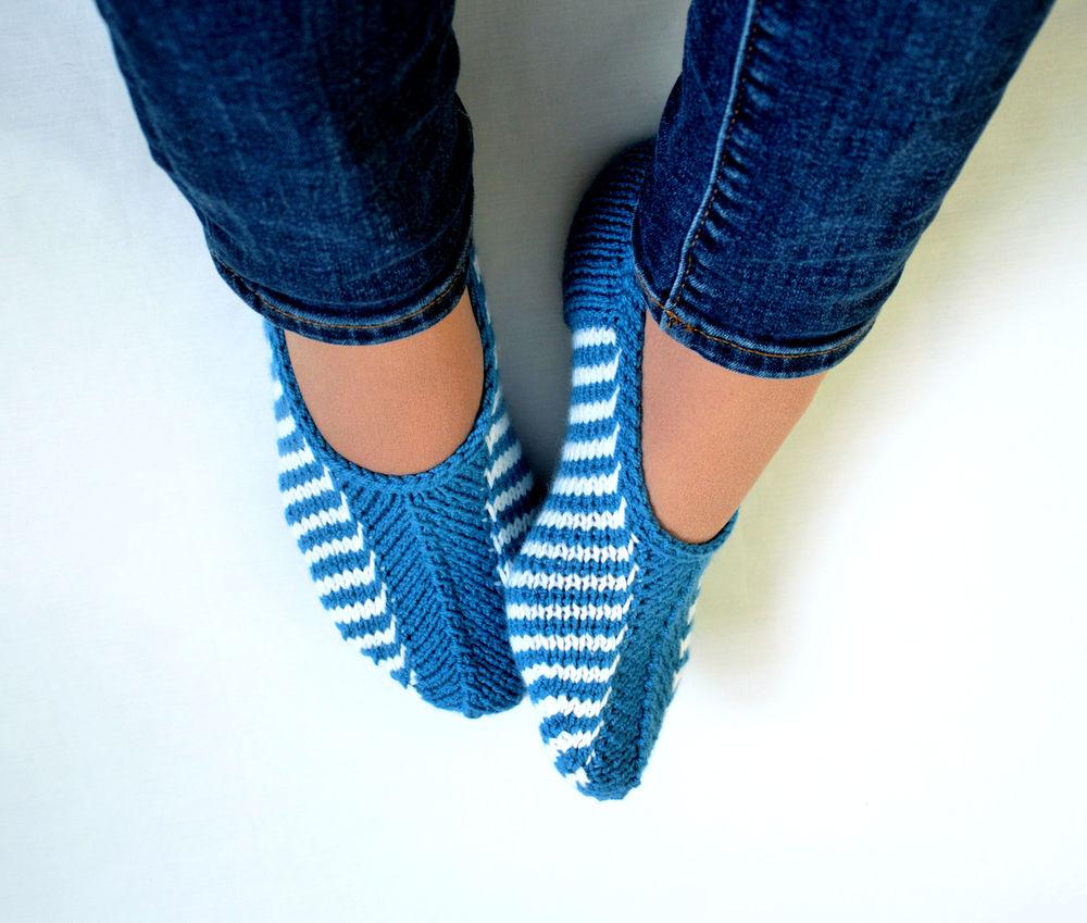 тапочки вязаные, вязаная обувь, чистая шерсть
