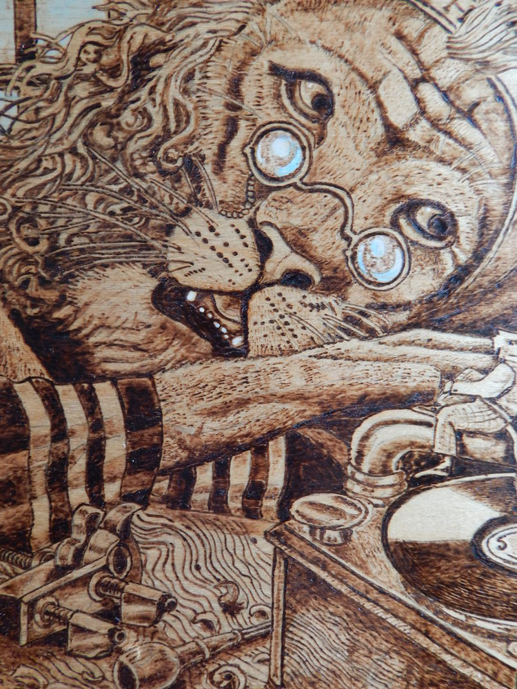 аукцион картина, картина из дерева, пирография
