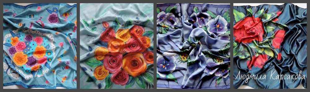 натуральный шелк, батик людмилы карсаковой, купить платок из шелка, ручная роспись, архангельск, полезный подарок