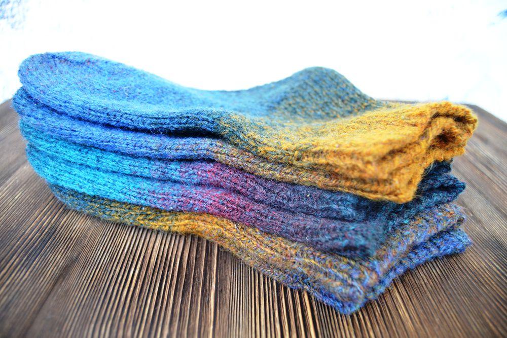 носки вязаные, полосатые носки