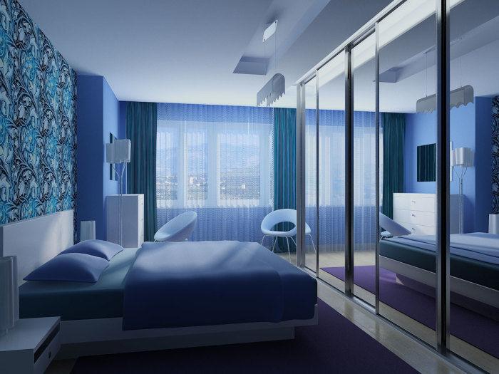 Дизайн голубой спальни