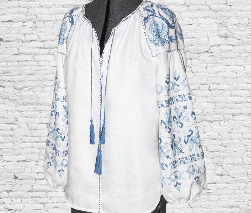 блузка белая, льняная одежда, блузка большого размера, женская одежда, голубой