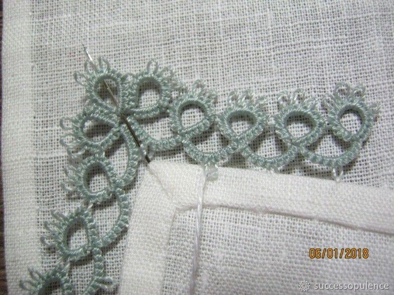 Making Handkerchiefs with Tatting Lace, фото № 20