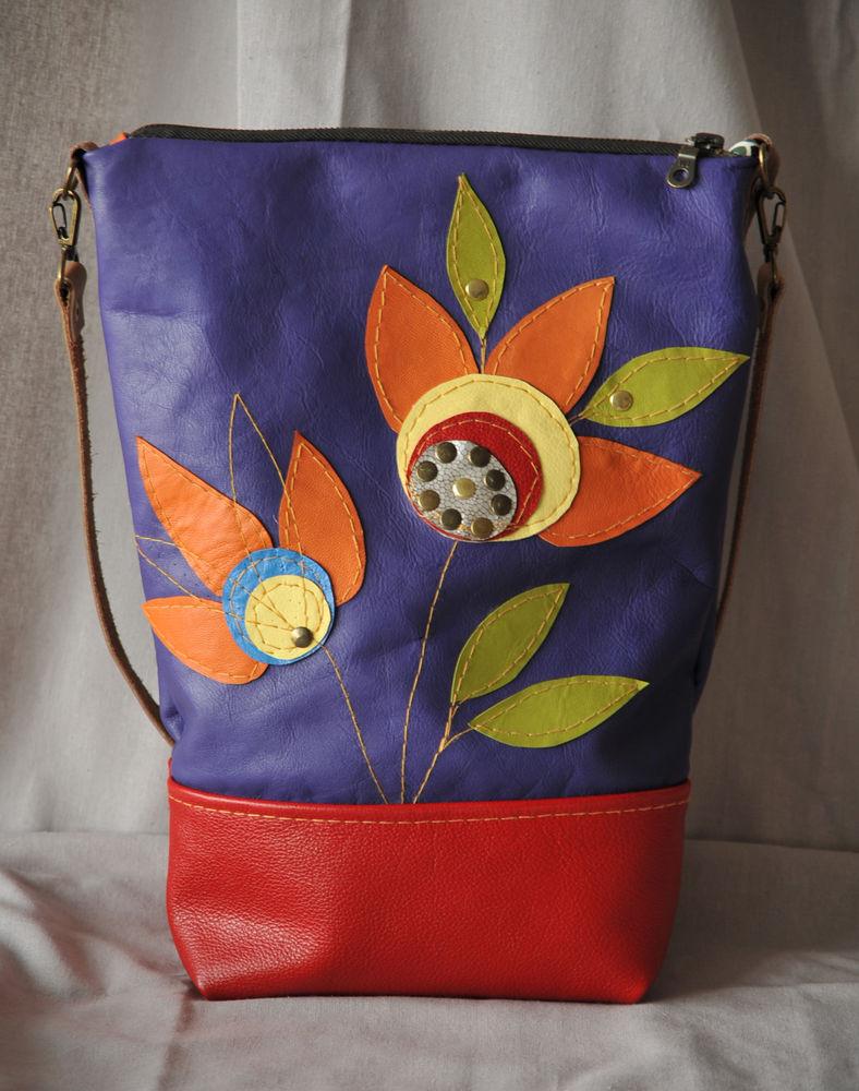 сумка из кожи, сумка женская, сумка с цветами, акция к новому году, скидки, марина цзи, кожаные сумки