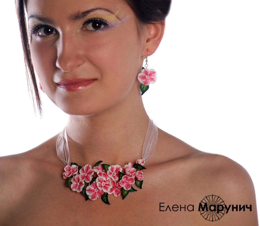 украшения из пластики, авторские украшения, цветы из полимерной глины, украшения из полимерной глины, цветы из полимерной глины