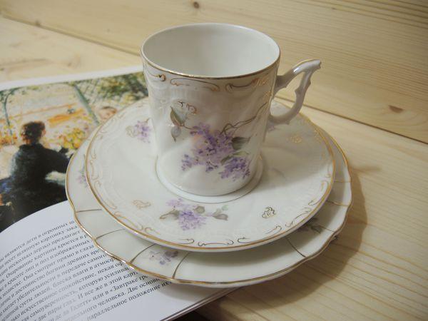 Старинная кофейная тройка с сиренью. | Ярмарка Мастеров - ручная работа, handmade