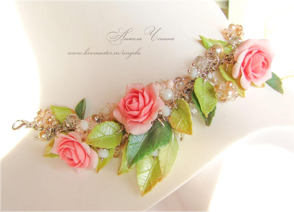 браслет розовые розы
