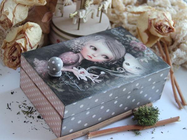 Ручка в милый горошек для шкатулочки | Ярмарка Мастеров - ручная работа, handmade