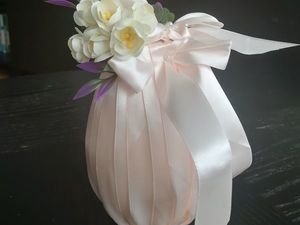 Делаем пасхальный сувенир: яйцо из атласных лент. Ярмарка Мастеров - ручная работа, handmade.