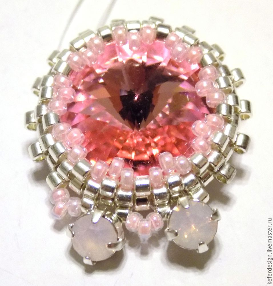 Серьги ручной работы «Цветущая сакура» из кристаллов Swarovski: процесс создания, фото № 9