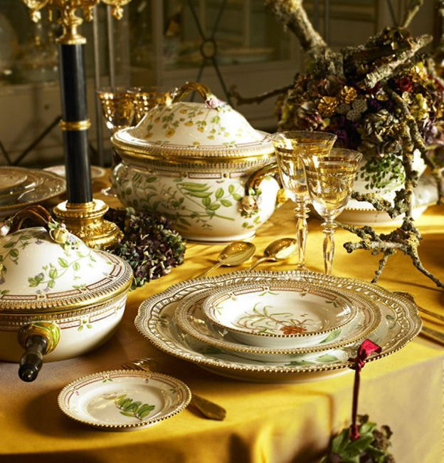 Supposed to be The most expensive China in the world...Flora Danica by Royal Copenhagen. Each piece is signed twice, once by botanical artist and once by gold artist. Quite beautiful!