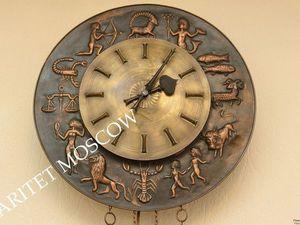 Часы антикварные Знаки Зодиака бронза медь латунь 7. Ярмарка Мастеров - ручная работа, handmade.