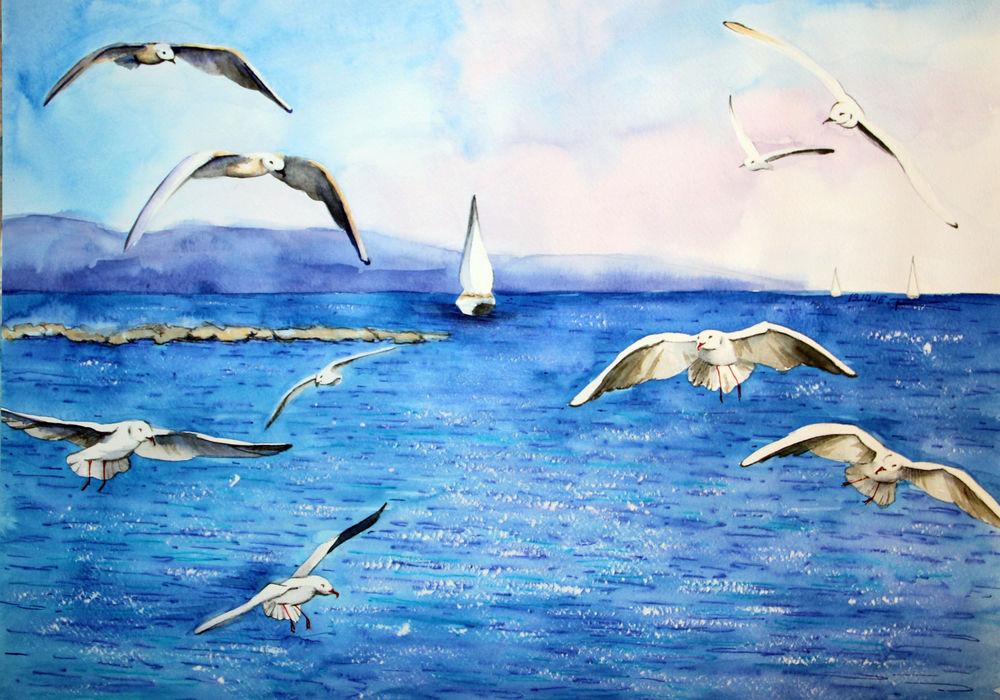 скидки, распродажа картин, картина, картина акварелью, морская тематика