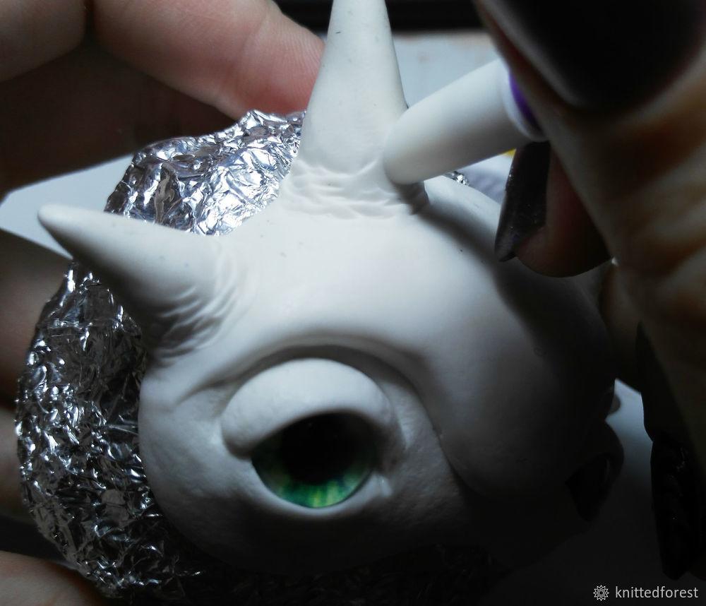 Процесс создания авторской игрушки из полимерной глины. Часть 1. Лепка мордочки, фото № 27