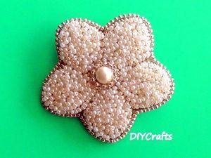 Создаем брошь «Цветок» из бисера. Ярмарка Мастеров - ручная работа, handmade.