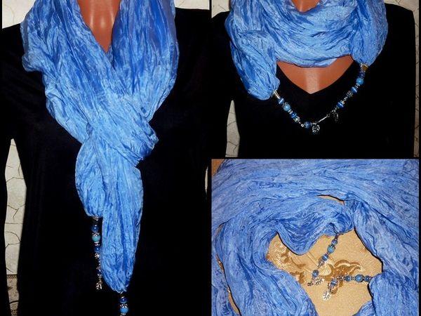 Товар дня!!!Шёлковый палантин Батик Море большой объемный шарф Натуральный шёлк | Ярмарка Мастеров - ручная работа, handmade