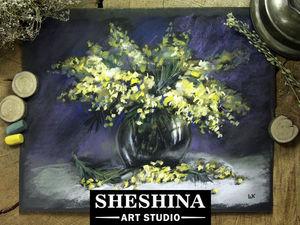 Видеоурок: рисуем натюрморт с мимозой сухой пастелью. Ярмарка Мастеров - ручная работа, handmade.