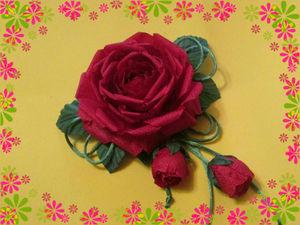 Делаем заколку для волос «Роза» из атласной ткани: работаем в европейской технике цветоделия. Видеоурок. Ярмарка Мастеров - ручная работа, handmade.