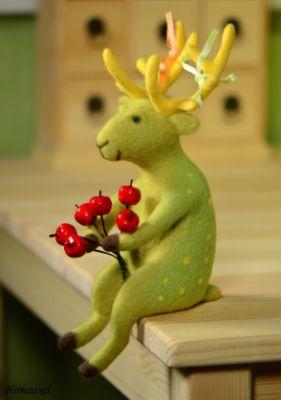 конкурс, игра в войлок, выставка, формула рукоделия, зеленый олень, войлочный олень, игрушка олень, олень из шерсти, весна