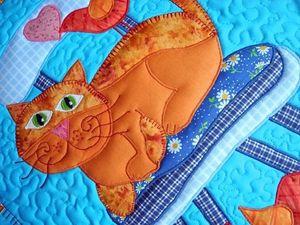 Панно лоскутное - Мой милый Котя. | Ярмарка Мастеров - ручная работа, handmade