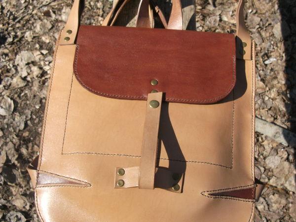 Кожаный городской рюкзачок Песочный   Ярмарка Мастеров - ручная работа, handmade