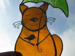 Витраж на окно – «Осенний Кот». Ярмарка Мастеров - ручная работа, handmade.