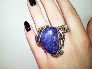 Новинка! Кольцо с чароитом на два пальца!!! | Ярмарка Мастеров - ручная работа, handmade