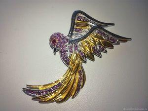 """Скидка 20% Брошь """"Птица Феникс"""" из серебра с родолитами. Ярмарка Мастеров - ручная работа, handmade."""