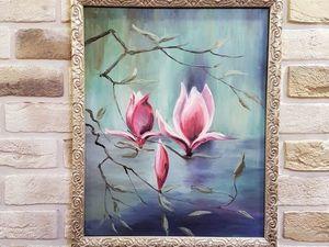 Картина маслом 40х50 см с изображением цветущей магнолии. Ярмарка Мастеров - ручная работа, handmade.