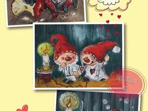 """Акция на Набор Купонов с Росписью """"Гномики"""" 3 шт. Ярмарка Мастеров - ручная работа, handmade."""