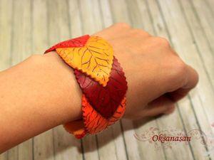 Лепим браслет в виде осенних листьев. Работаем с полимерной глиной. Ярмарка Мастеров - ручная работа, handmade.