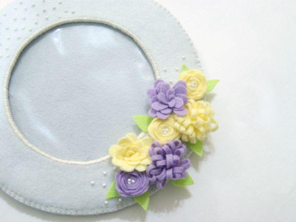 Шьём круглую фоторамку с весенними цветами из фетра   Ярмарка Мастеров - ручная работа, handmade