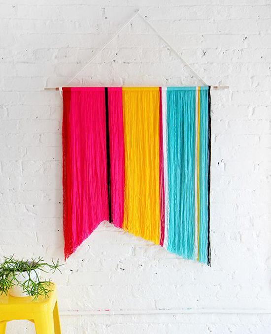 Простые идеи для дома: стильные панно из пряжи, фото № 23