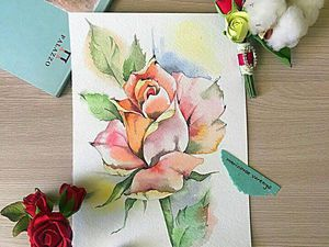 Рисуем  акварелью нежную розу | Ярмарка Мастеров - ручная работа, handmade