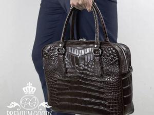 Мужская сумка-портфель из натуральной крокодиловой кожи (видео обзор). Ярмарка Мастеров - ручная работа, handmade.