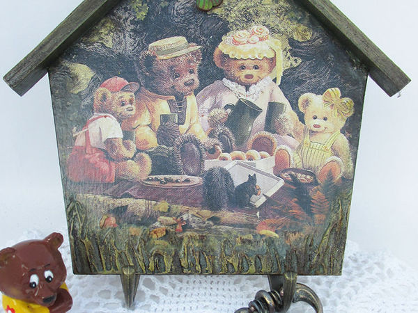 Ключница-вешалка «Медвежата» | Ярмарка Мастеров - ручная работа, handmade