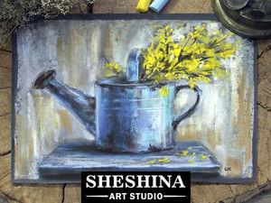 Видеоурок: рисуем сухой пастелью веточки желтых цветов в старой лейке. Ярмарка Мастеров - ручная работа, handmade.