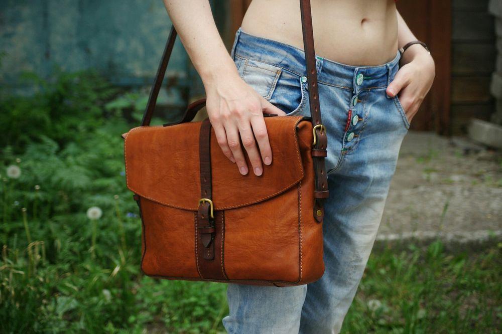 сумка-портфель, кожаные изделия на заказ, изделия ручной работы, стираная кожа
