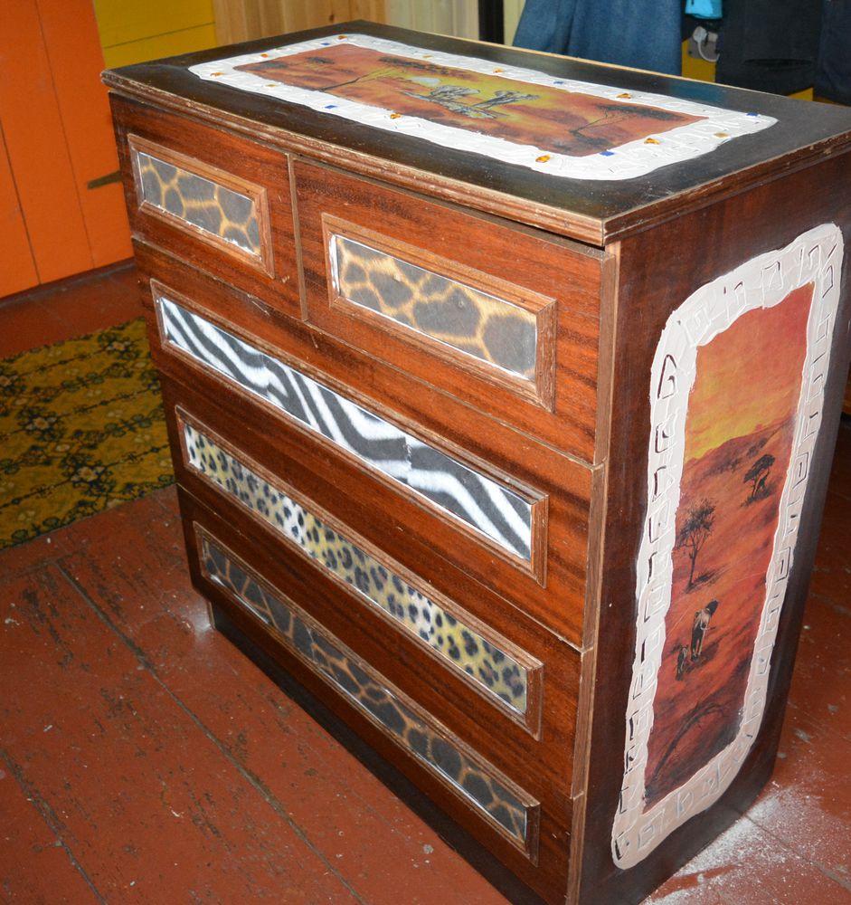 recycle, переделка старой мебели, декупаж комода, африканский