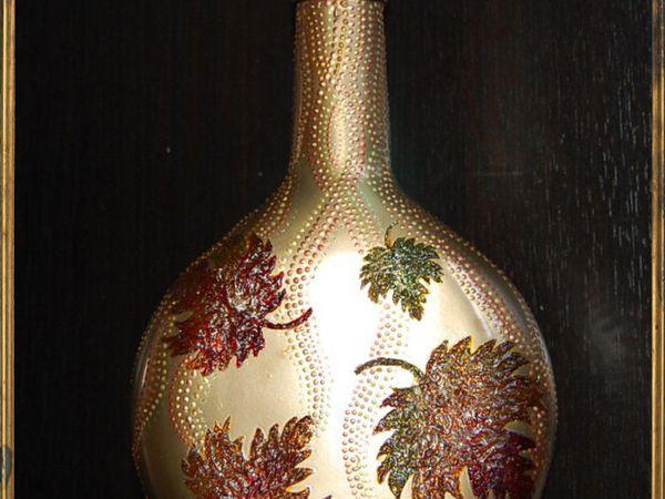Частичка золотой осени в нашем доме, или Декорируем стеклянную бутылку «Листопад» | Ярмарка Мастеров - ручная работа, handmade