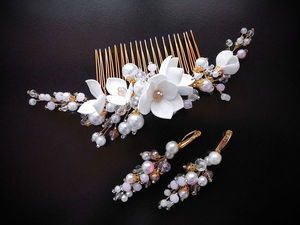 How to Make a Wedding Accessories Set of Earrings and Comb with Beads and EVA Foam Flowers. Livemaster - handmade